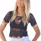 Short Sleeve Black Lace Crop Top
