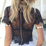Short Sleeve Black Lace Crop Top Back View