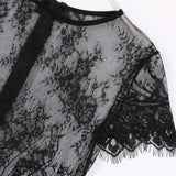 Short Sleeve Black Lace Crop Top Sleeve Detail