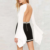 White Backless Jumpsuit with split front