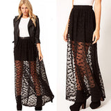 Long Polka Dot Lace Mesh Maxi Skirt