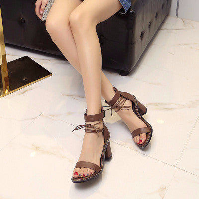 Leather Sandals with block heel and ankle strap in Brown