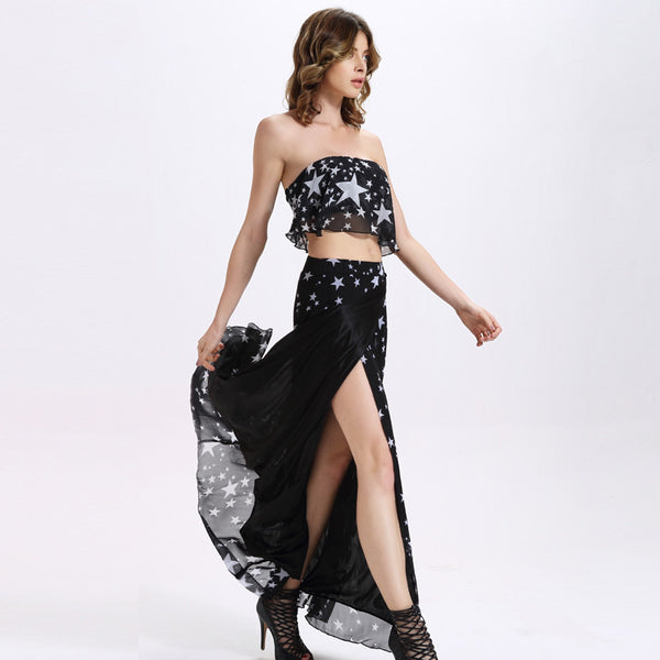 Ready for the Party black Long skirt and crop top 2 piece