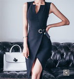 V-neck Bodycon Sheath Casual Pencil Dress