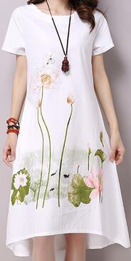 Short Sleeve White Cotton Linen Dress