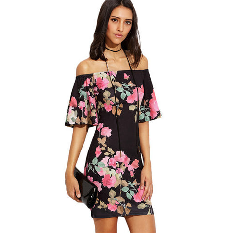 Floral Print Short Sleeve Off The Shoulder Bodycon Dress