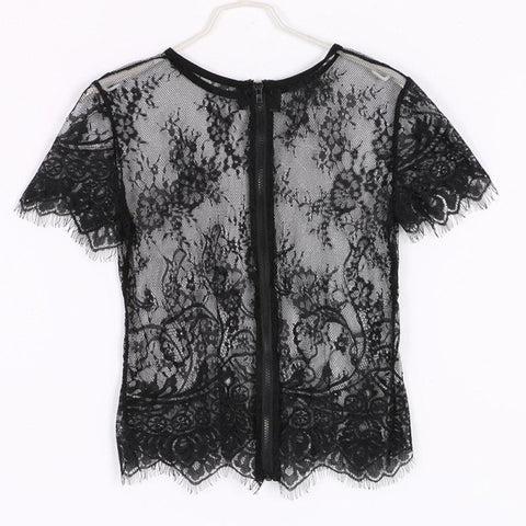 Short Sleeve Black Lace Crop Top Back Detail
