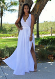 Long White Multi Split Wrap Summer dress