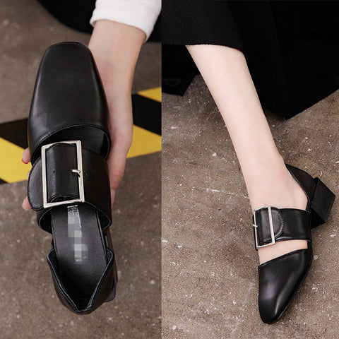 Leather  Square Heel Pumps
