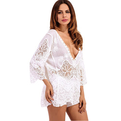 Lace Boho Beach Cover Up Blouse