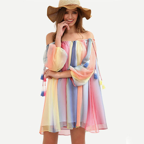 Short Multi color Off the shoulder summer dress