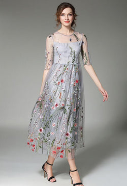 Long Floral Embroidered dress