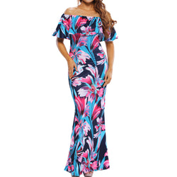 Elegant Floral Print  Off The Shoulder Bodycon Summer Dress