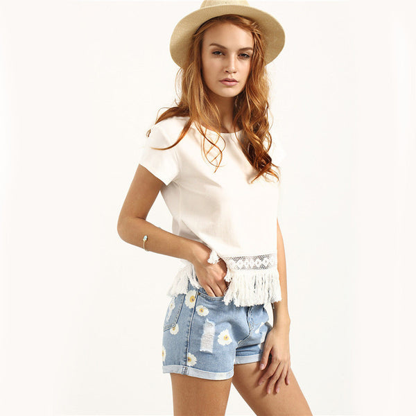 White Crew Neck Short Sleeve Tassel Hem Blouse