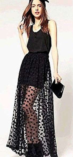 Long Sheer black Skirt with Polka dots