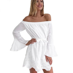 White Flared Sleeve Off Shoulder Mini Dress