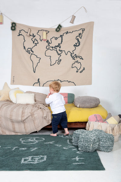 Washable World Map Wall Hanger