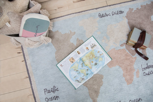 Washable World Map Rug
