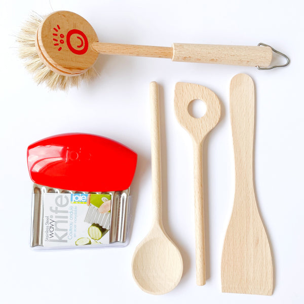 Montessori Kitchen Tools Set: crinkle cutter + dishwashing brush + cooking utensils