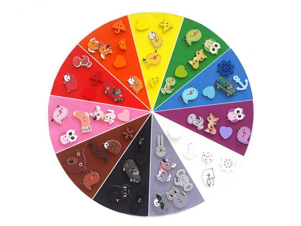 Montessori color wheel with 55 miniatures