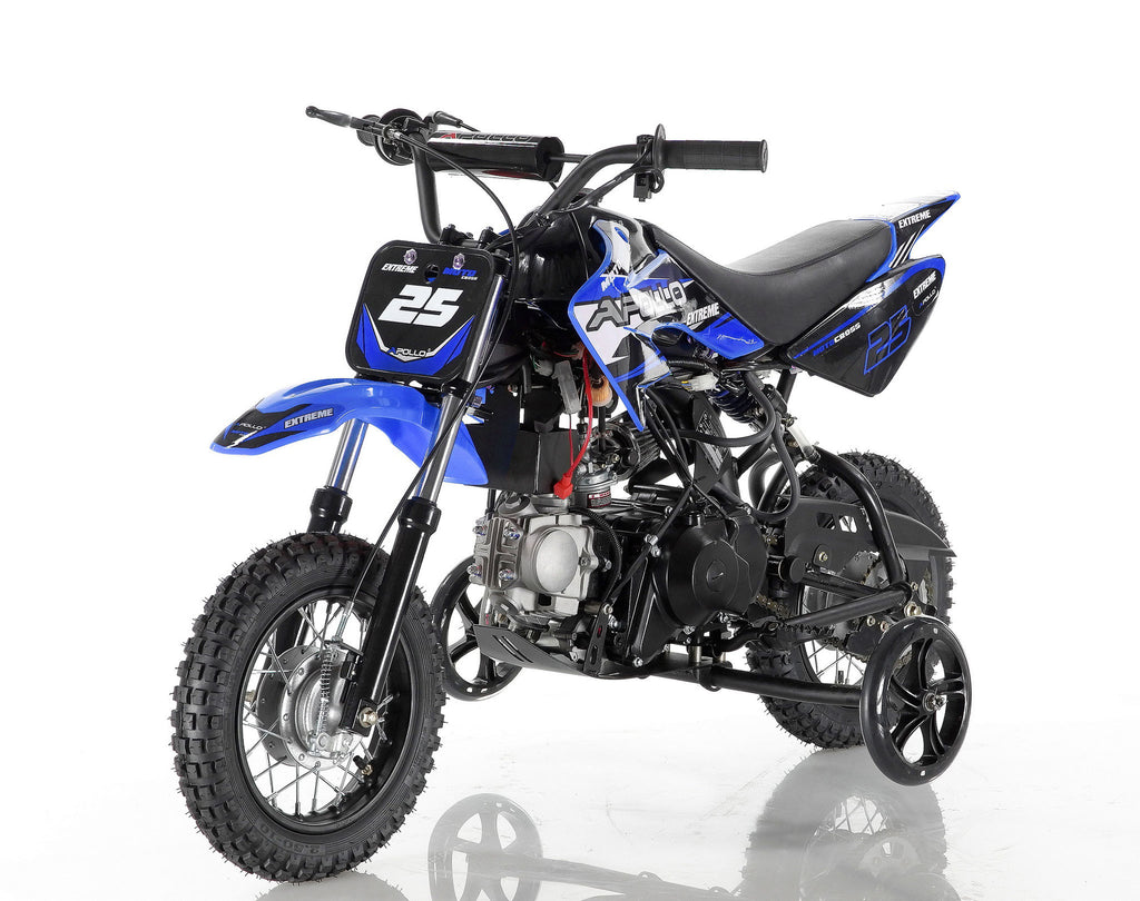Apollo 25 Dirt Bike 70cc Blue with training wheel