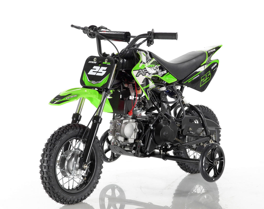 Apollo 25 Dirt Bike 70cc Green with training wheel