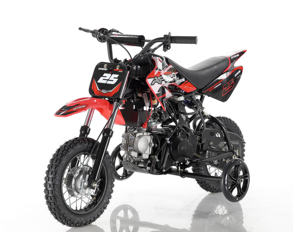 Apollo 25 Dirt Bike 70cc Red with training wheel