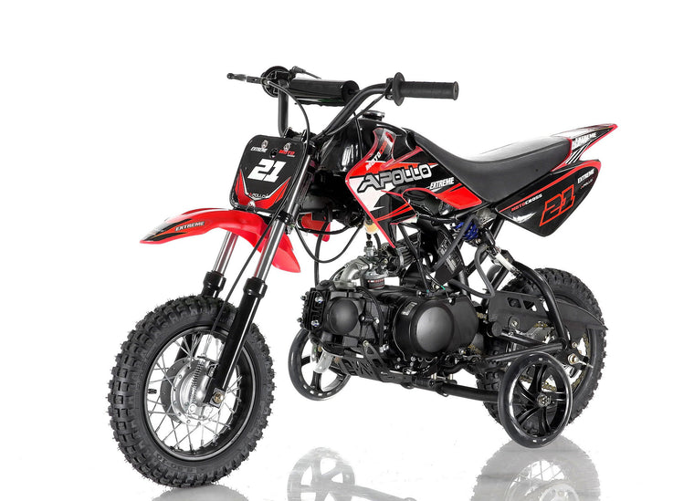 Apollo 21 70cc Dirt Bike Red with training wheel