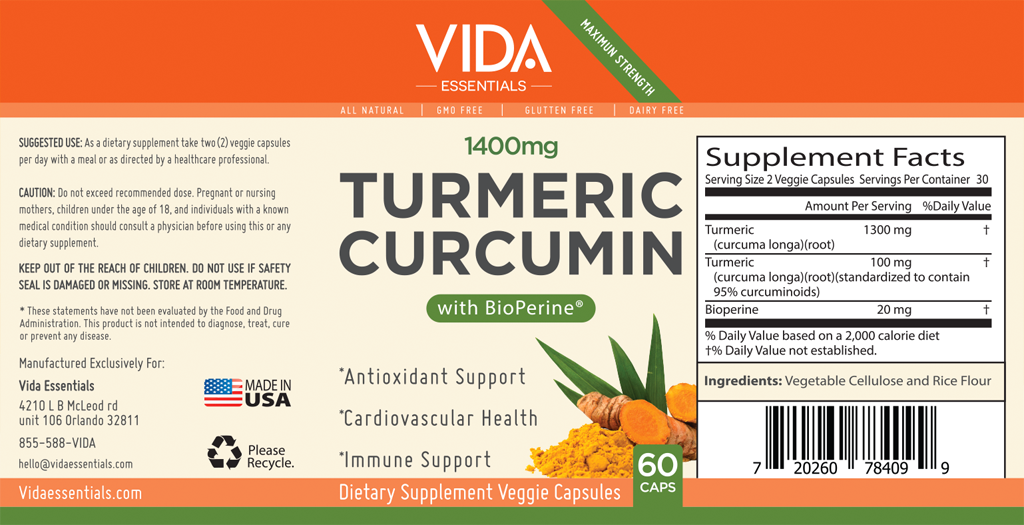 Turmeric Information Facts Label