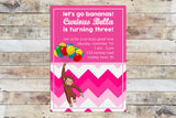 Birthday Invitation - Curious George | Chevron (Girl)
