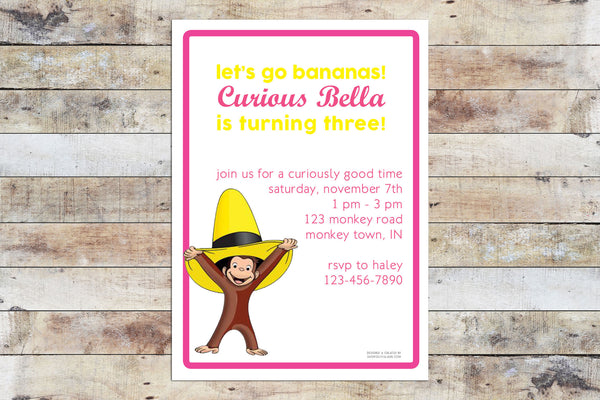 Birthday Invitation - Curious George | Let's Go Bananas (Girl)