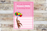 Birthday Invitation - Curious George | Stripes (Girl)