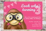 Birthday Invitation - Curious George | Look Who's Turning (Girl)