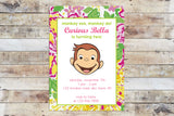 Birthday Invitation - Curious George | Floral