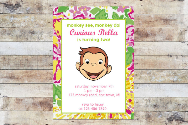 Birthday Invitation - Curious George | Floral (Large)