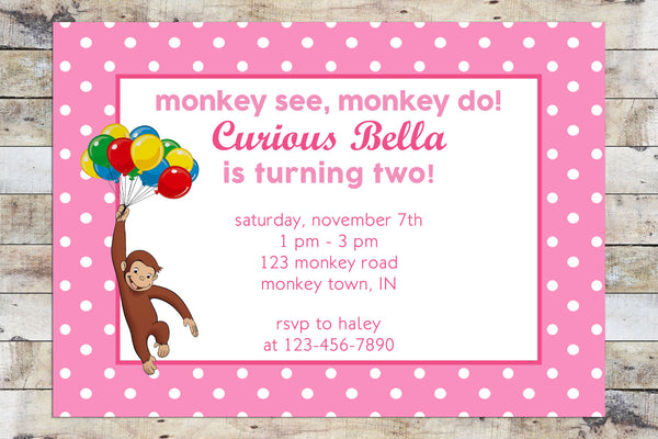 Birthday Invitation - Curious George | Monkey See, Monkey Do | Balloons (Girl)