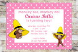 Birthday Invitation - Curious George | Monkey See, Monkey Do | Yellow Hat (Girl)