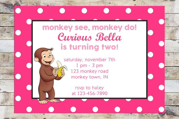 Birthday Invitation - Curious George | Monkey See, Monkey Do | Bananas (Girl)