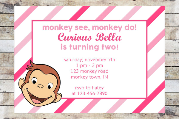 Birthday Invitation - Curious George | Monkey See, Monkey Do (Girl)