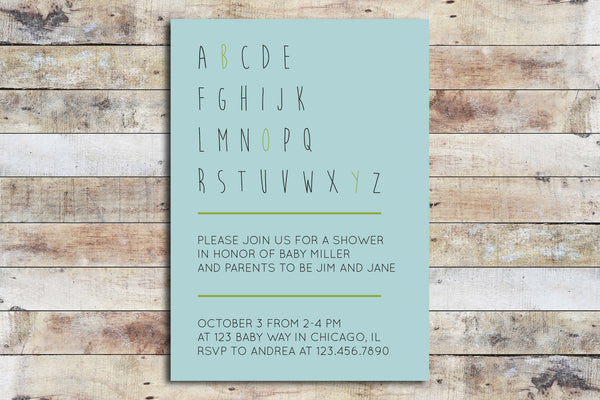 Baby Shower Invitation - Alphabet