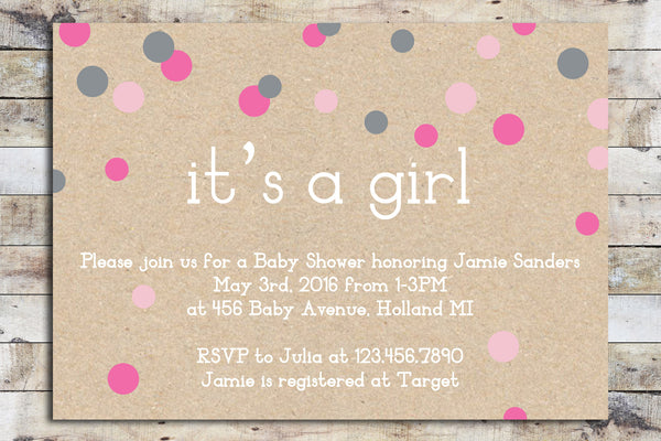 Baby Shower Invitation - Cardboard Confetti | It's a Girl