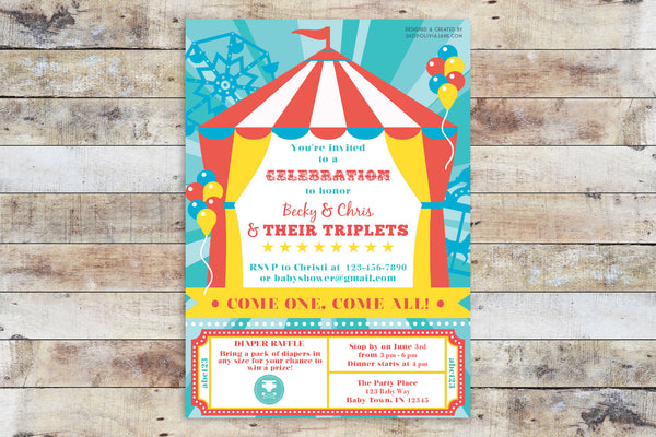 Birthday Invitation - Circus