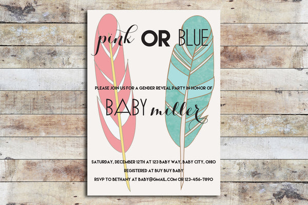 Baby Shower Invitation - Gender Reveal | Feathers
