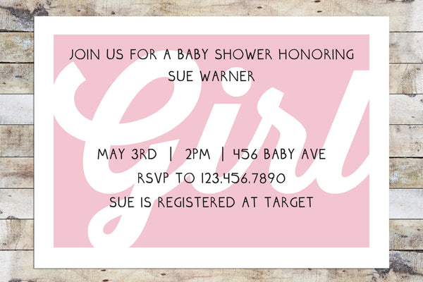 Baby Shower Invitation - Girl