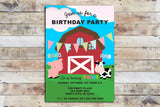 Birthday Invitation - Barnyard Birthday (Cursive Font)