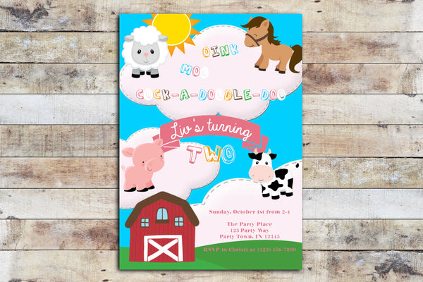 Birthday Invitation - Barnyard Birthday (Oink, Moo!) Cartoon Font