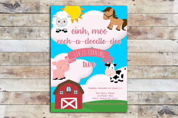 Birthday Invitation - Barnyard Birthday (Oink, Moo!)