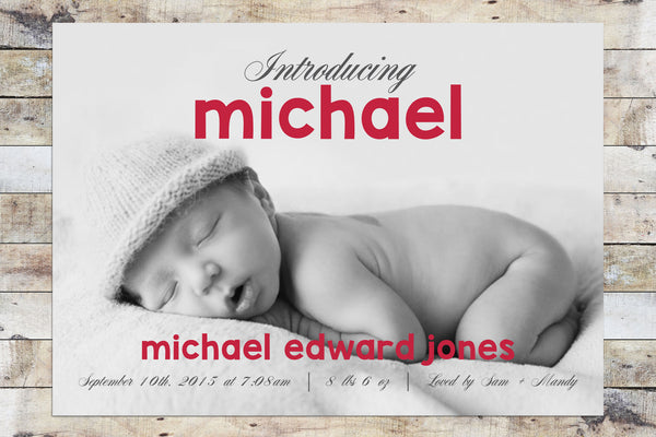 Birth Announcement - Introducing (B&W Photo)