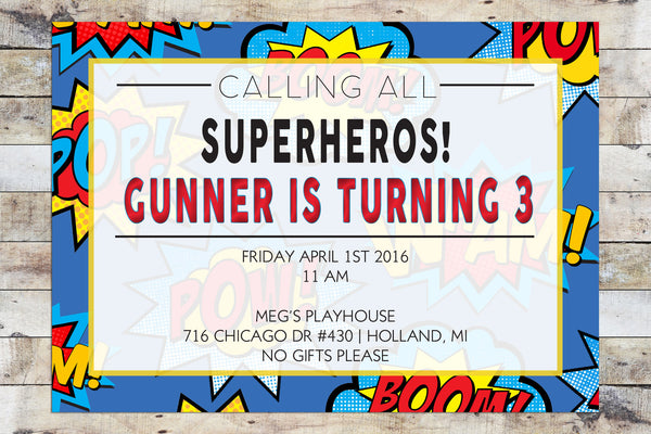 Birthday Invitation - Superhero