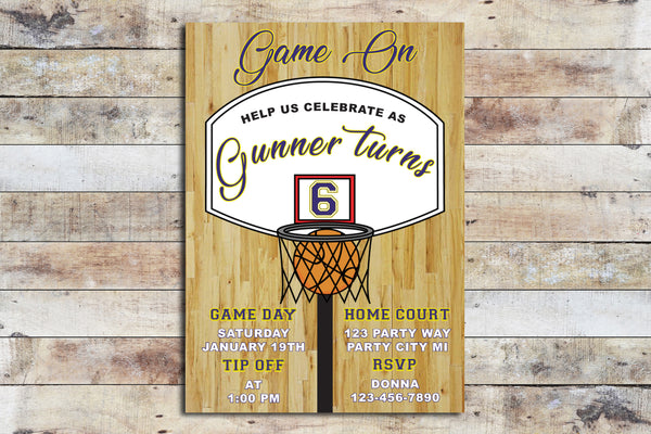 Birthday Invitation - Basketball